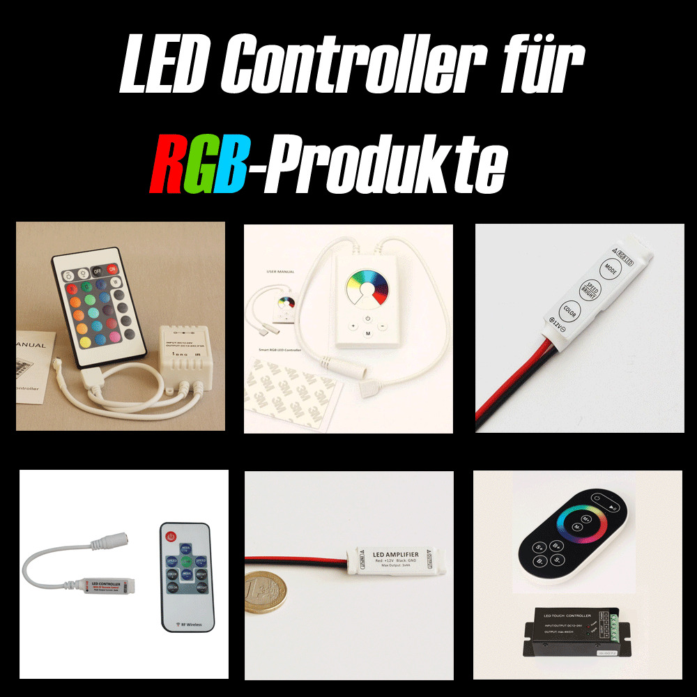 led controller dimmer f r mehrfarbig rgb strip e leiste. Black Bedroom Furniture Sets. Home Design Ideas