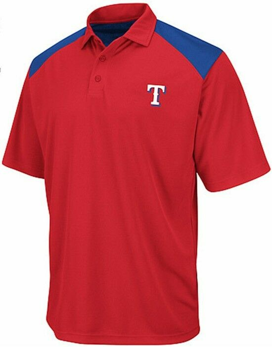 Texas rangers mlb majestic dri fit shoulder polo golf for Large tall golf shirts