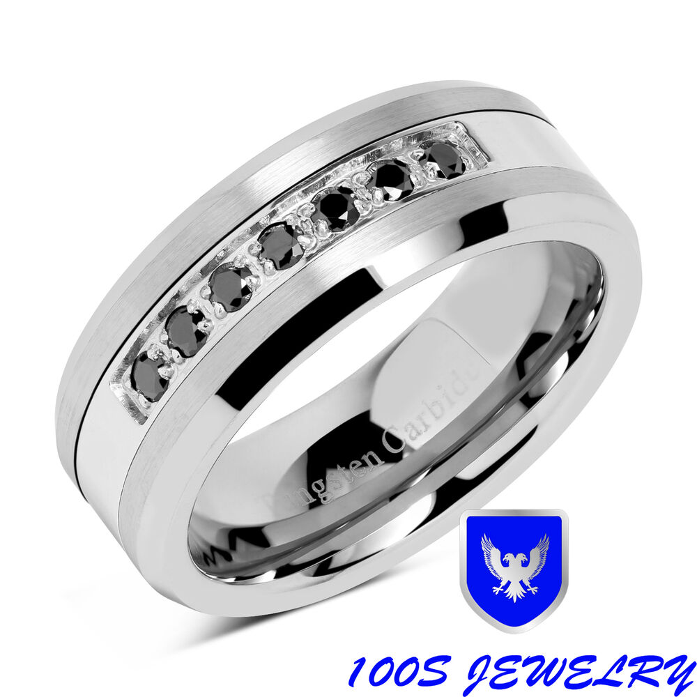 8mm Mens Tungsten Ring Black Diamond Inlay Center Brushed Wedding Band Size 8