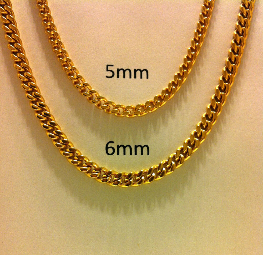 yellow inches miami link necklace mens chain cuban mm gold