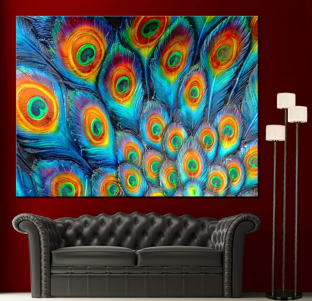 Colorful Wall Decor: Wall Art Canvas Painting Print Fine Peacock Feathers