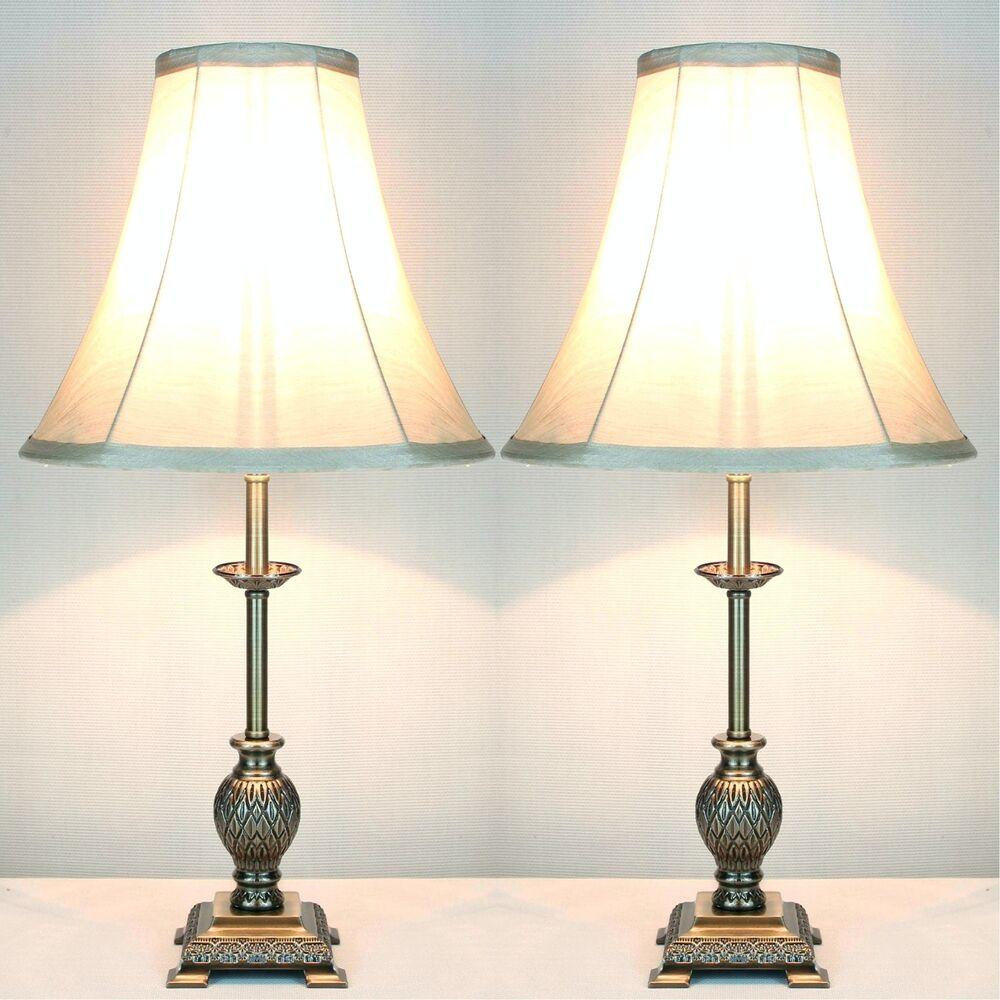 Pair Of Traditional Antique Style Table Bedside Lamps Ebay