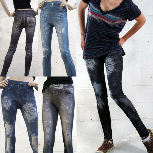 Women's Frayed Distressed Denim Look Jean Leggings Jeggings Skinny Tight Pants