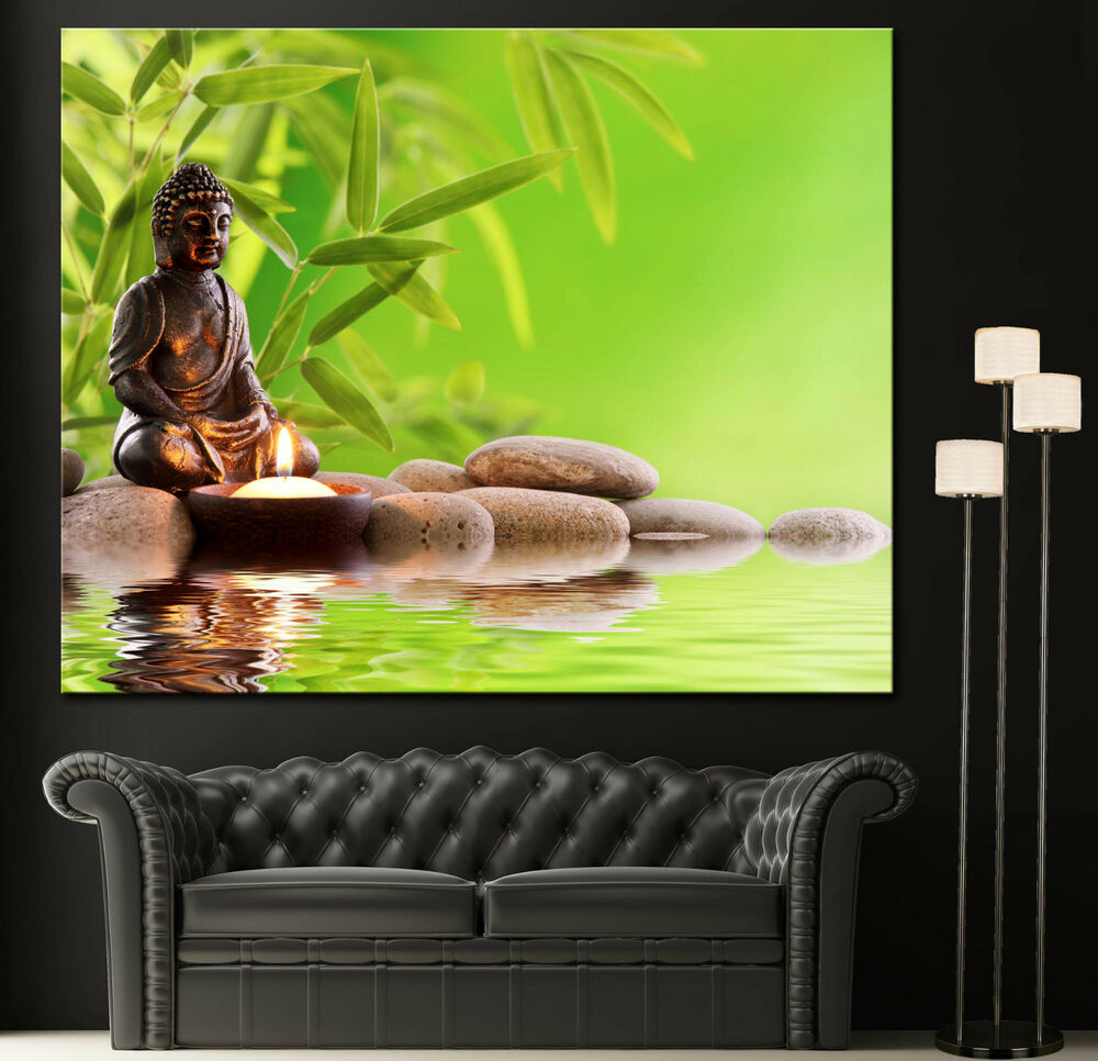Wall art canvas print bamboo buddha zen picture colorful for Poster mural zen deco