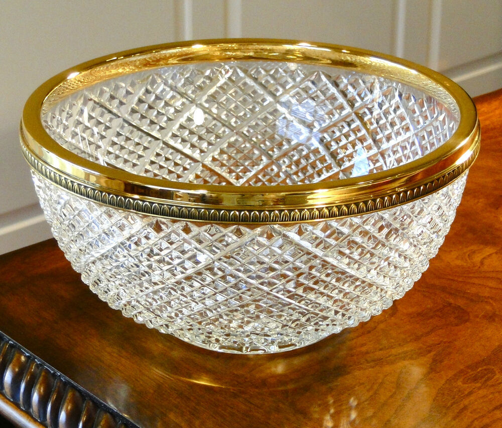 Faberge waffle centerpiece bowl k gold plated bronze