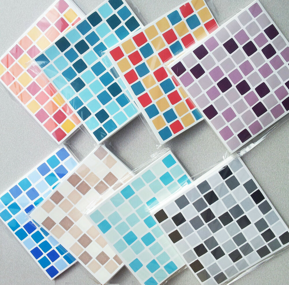 Self adhesive mosaic tile stickers transfers transform for Bathroom tile stickers