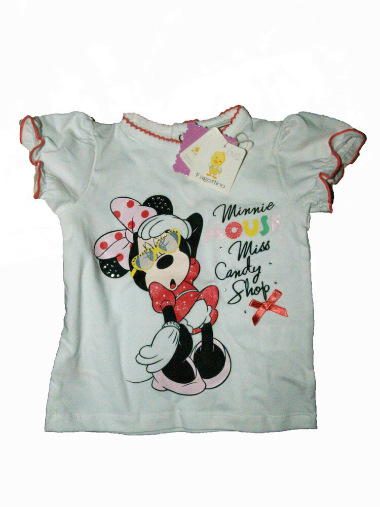 DISNEY New Cute Little Baby Girls White Minnie Mouse Top ...
