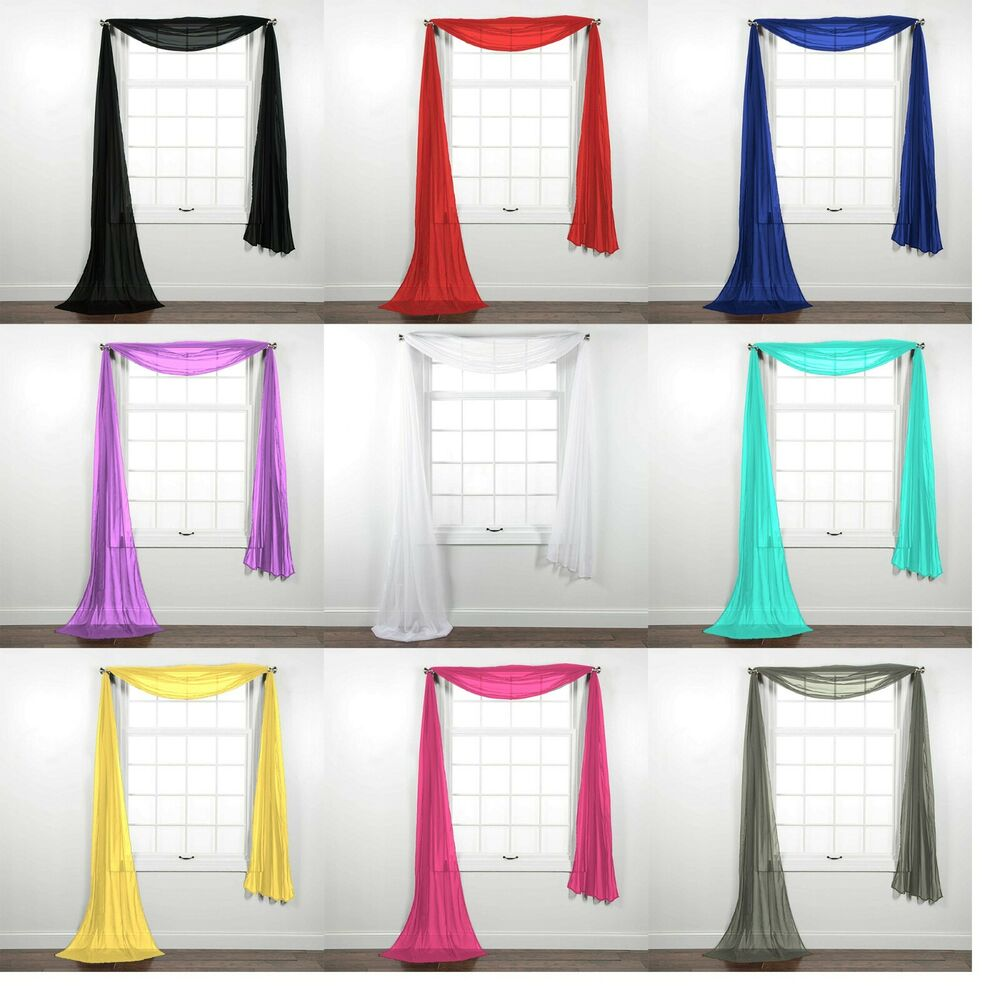 New Sheer Window Scarf Valance Topper Curtain Drapes in Many Colors ...