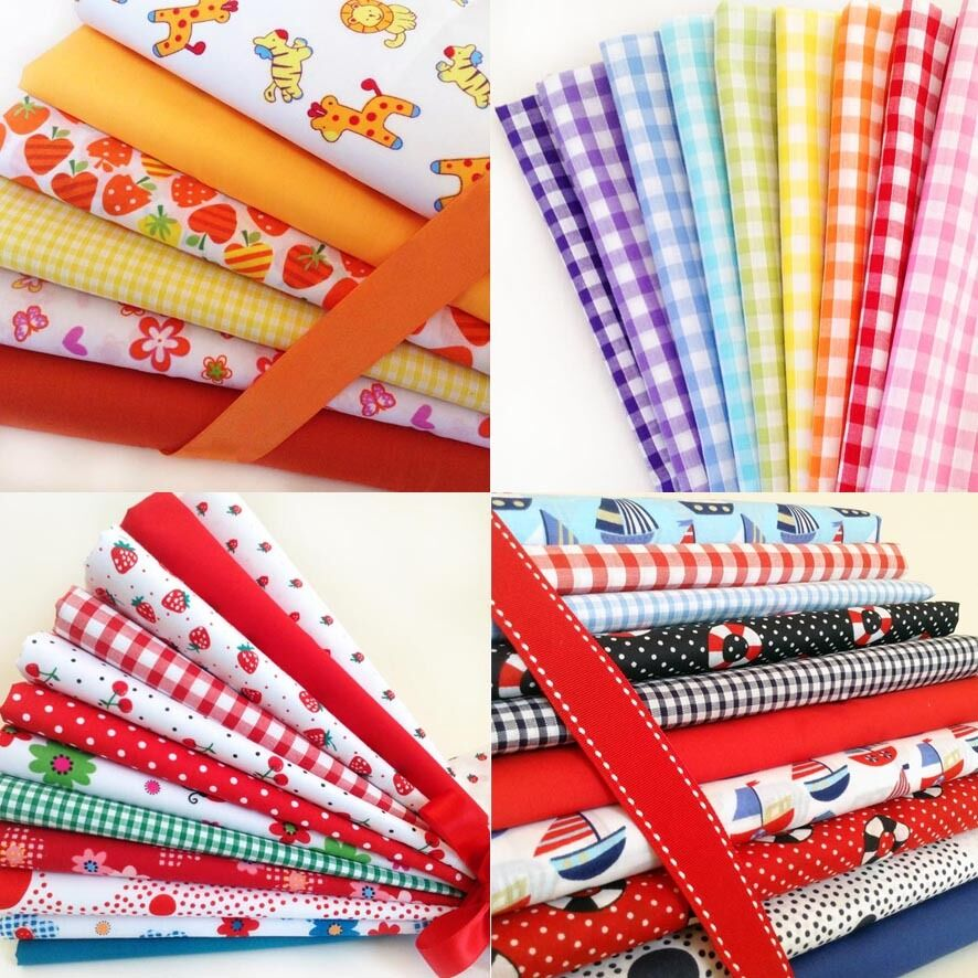 Fat quarters fabric bundles gingham boats flowers spots for Childrens fabric bundles