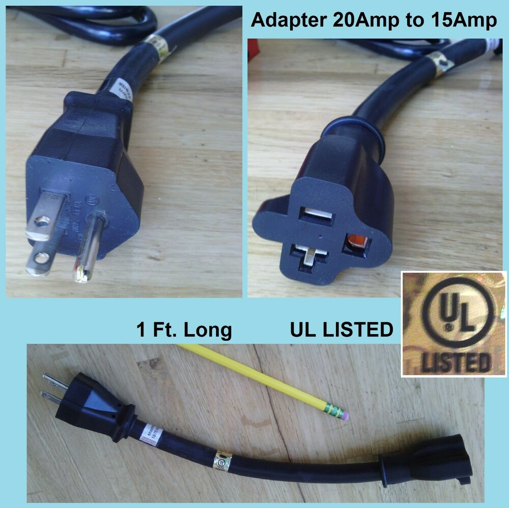 1' Ft Pigtail Cord Plug Adapter 20A/15A T-blade to 15A, 12 ...