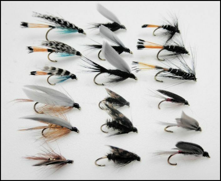 18 mixed wet trout flies 6 types teals whickhams black for Types of fly fishing flies