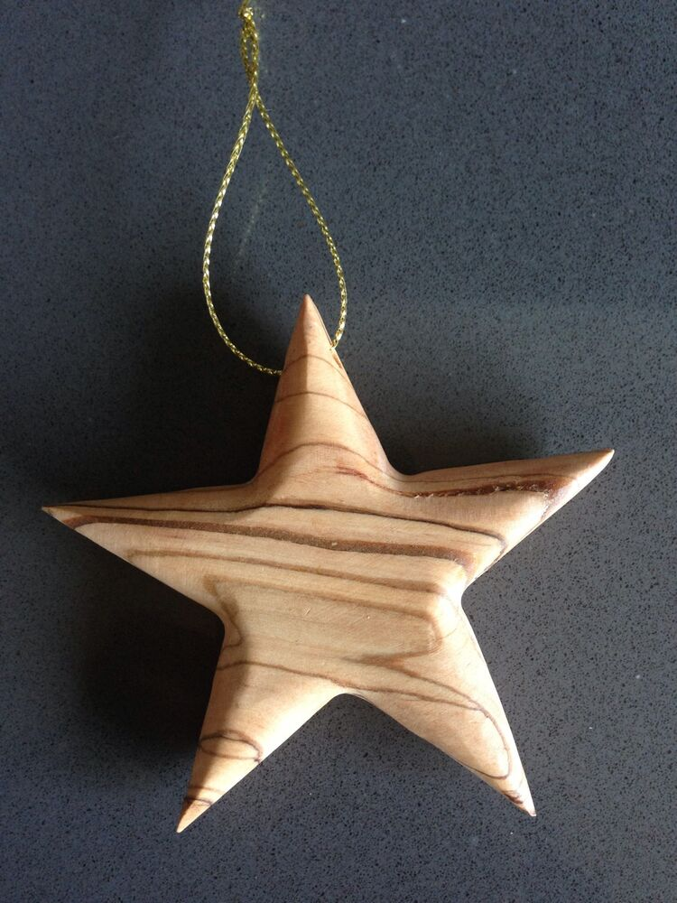 Hand Crafted Made In Bethlehem Olive Wood Star Christmas ...