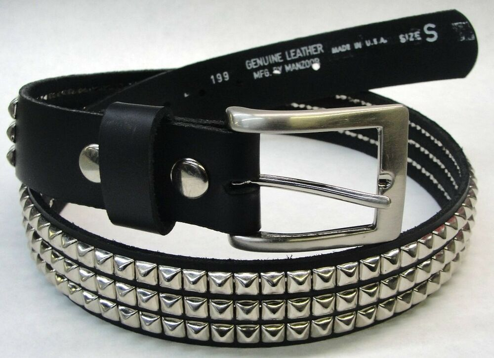 black genuine leather belt 3 rows 1 4 quot pyramid studs made