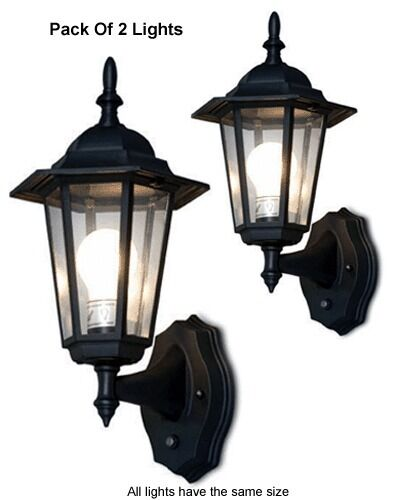 pack of 2 outdoor wall lighting systems for dusk to dawn illumination. Black Bedroom Furniture Sets. Home Design Ideas
