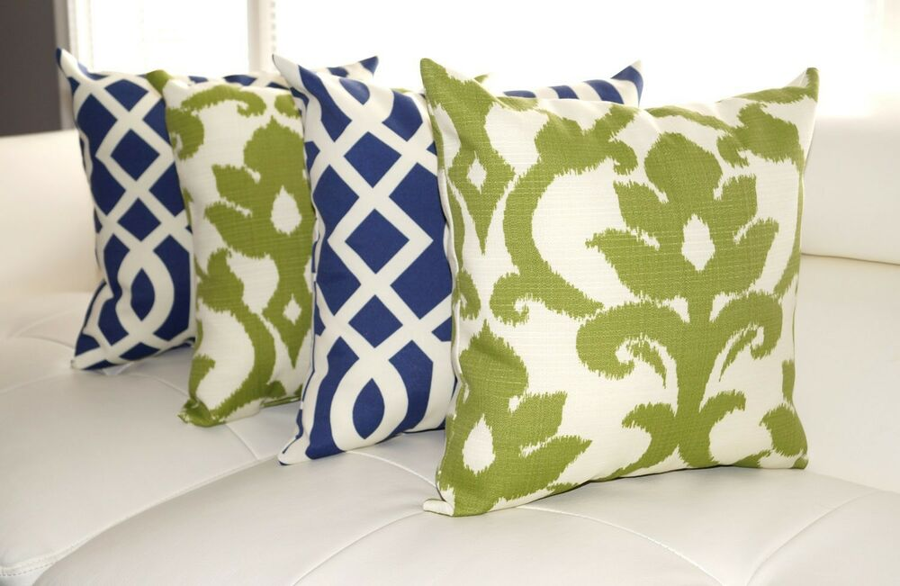 Throw Pillows Set Of 4 : Basalto Kiwi Green and Kirkwood Admiral Navy Outdoor Throw Pillow - Set of 4 eBay