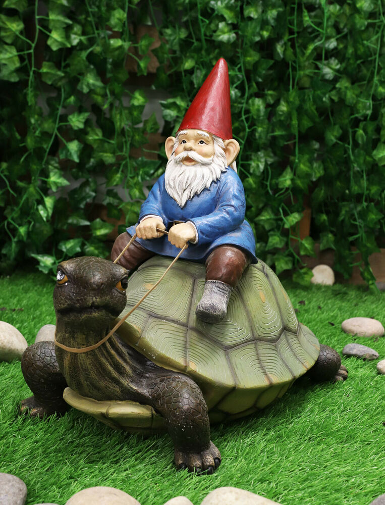 "Gnome In Garden: 17""L Faithful Steed Garden Gnome Riding Giant Turtle"