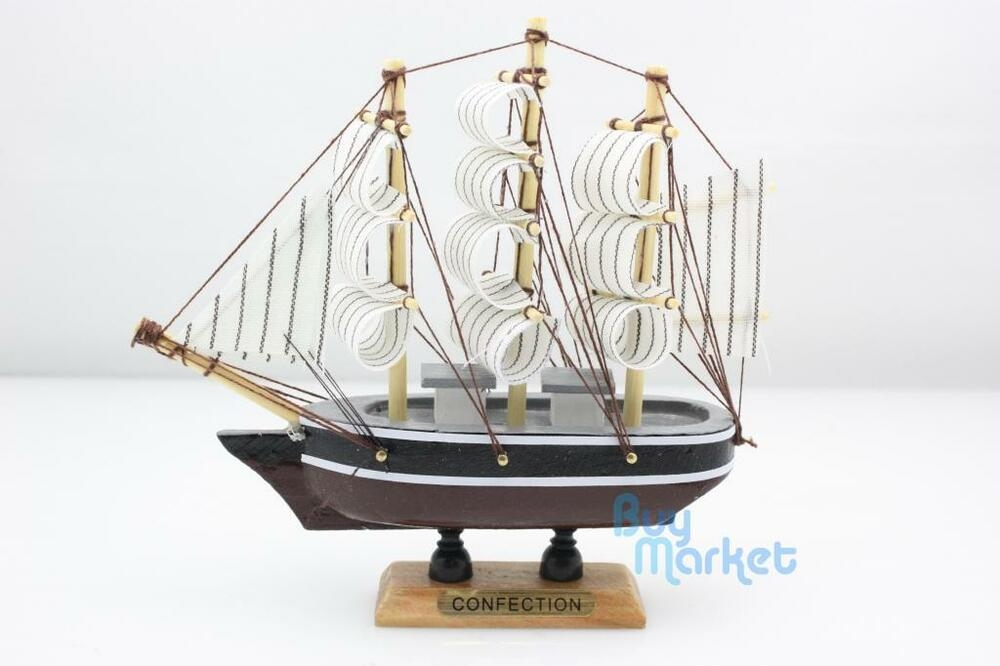 Handmade wooden colorful model ship sailing boat home for Ship decor home