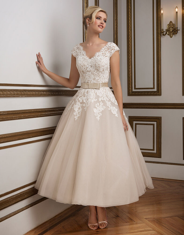 Uk short wedding dress 1950 39 s vintage inspired tea length for Ebay wedding dresses size 18 uk
