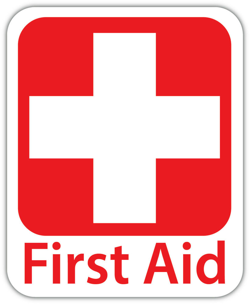 First Aid Vinyl Sticker Decal Sign 4 Sizes Red Cross