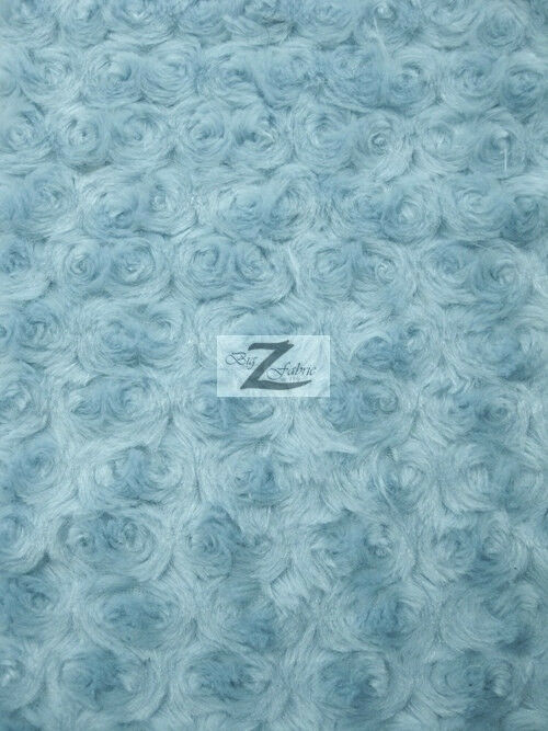 Rose rosette minky fabric baby blue 58 60 wide by the for Baby fabric by the yard
