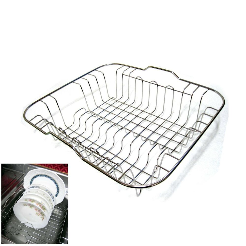 Stainless steel dish drying rack sink drainer plate storage holder kitchen rack ebay - Kitchen sink drying rack ...