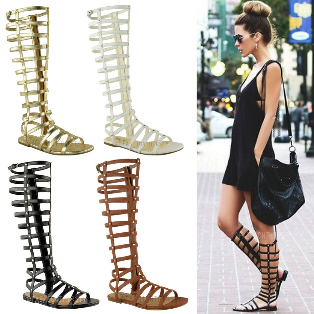 Ladies Womens Cut Out Gladiator Sandals Flat Knee Boots