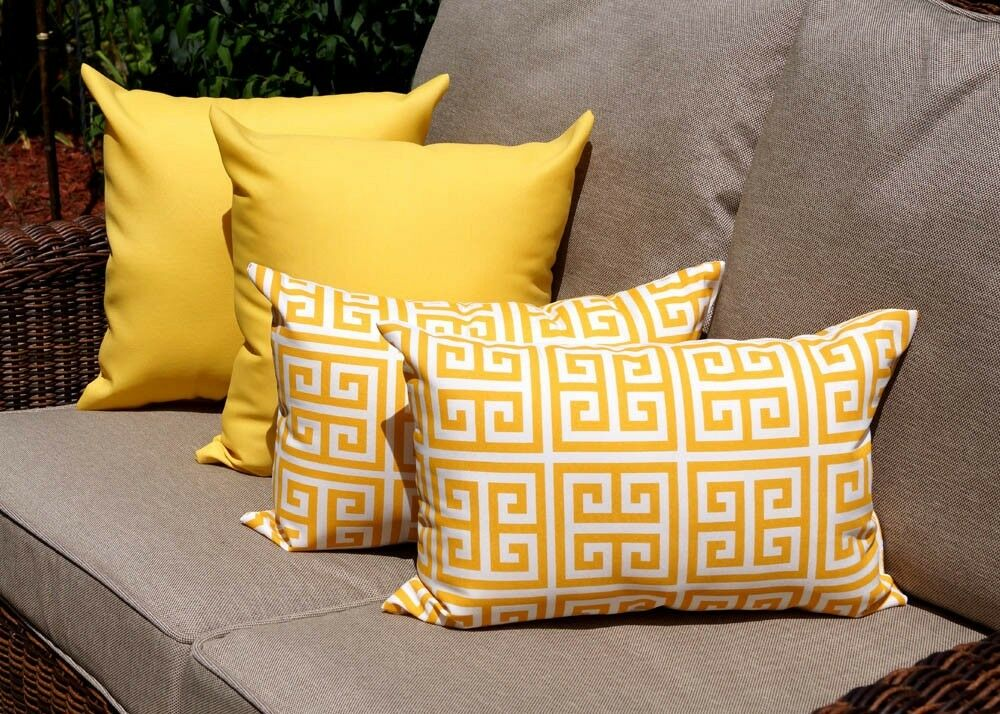 Throw Pillows Set Of 4 : Greek Key Citrus Yellow Pillow, Solid Yellow Outdoor Throw Pillows - Set of 4 eBay