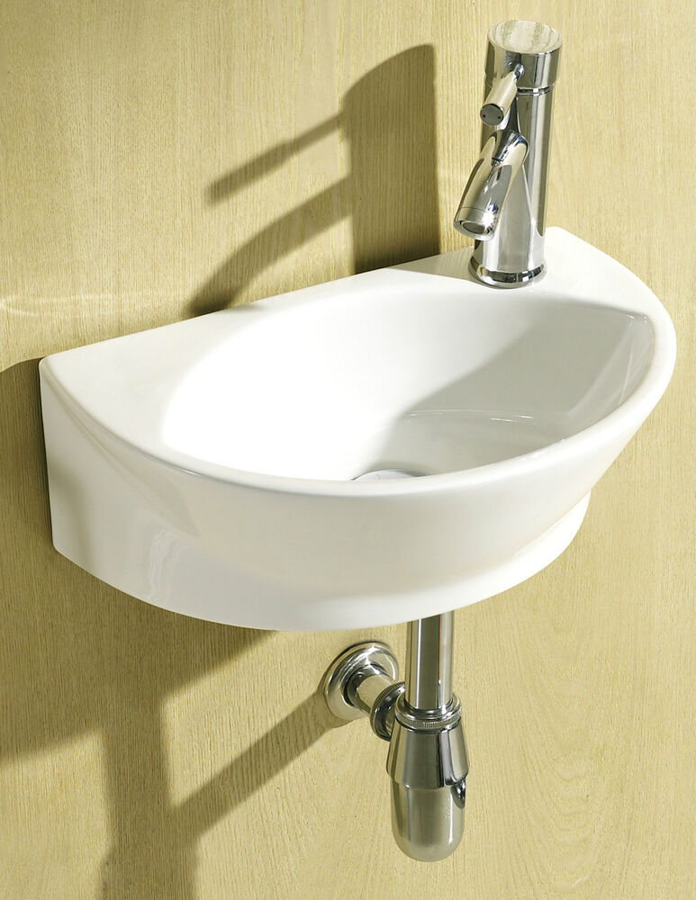 Small Compact Round D Shaped Cloakroom Basin Bathroom Sink Wall Hung ...