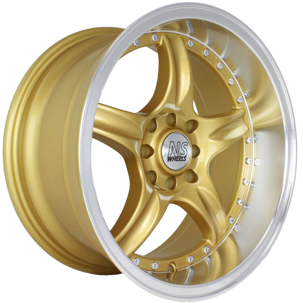 NS DC01 16 16x8 +0 Gold Deep Dish Lip Rims Wheels