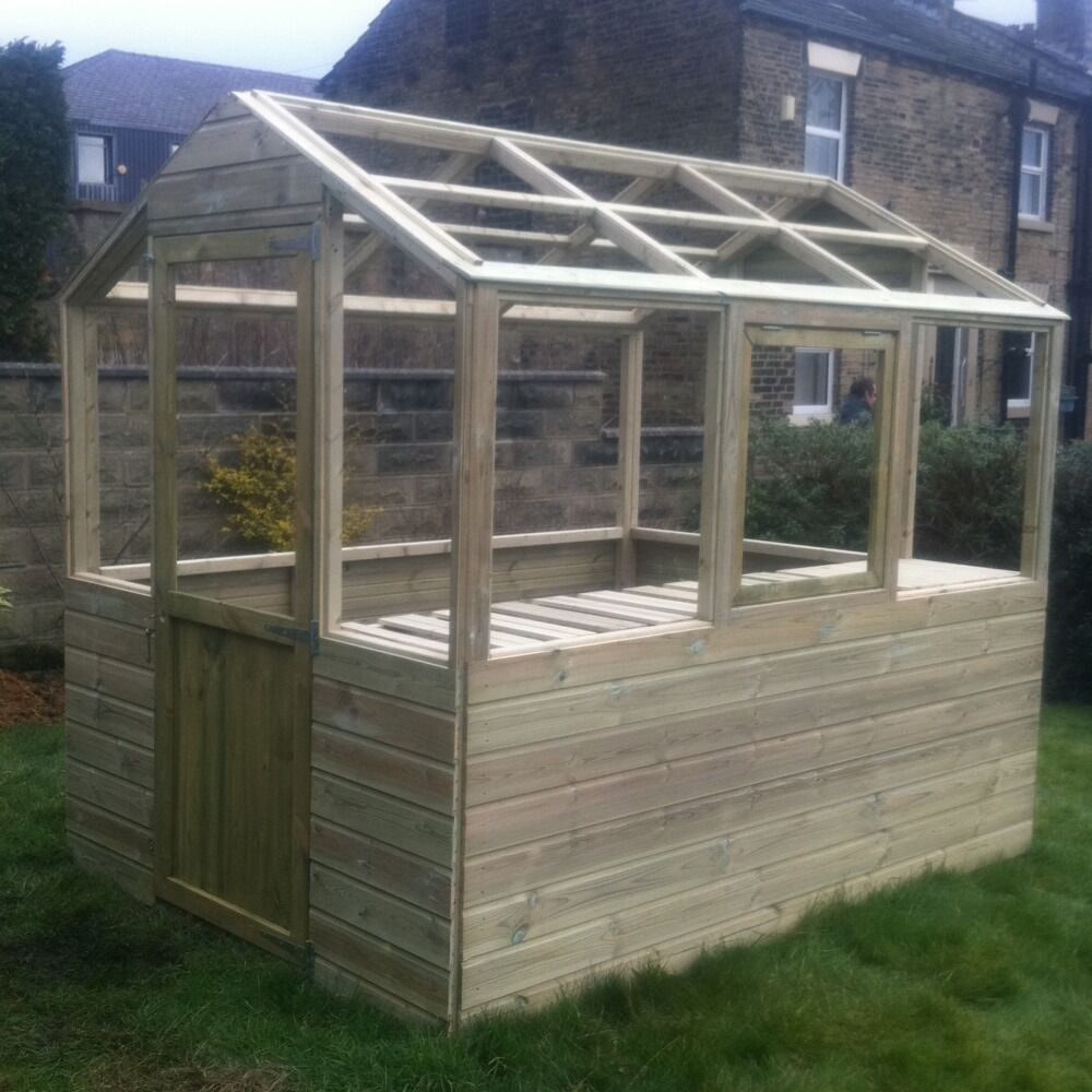8x6 wooden greenhouse heavy duty tanalised frame only free - Wooden staging for greenhouse ...