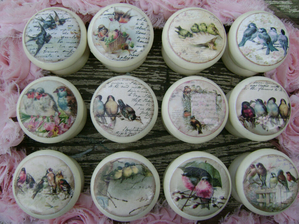 Shabby vintage tweeters birds cream cupboard door drawer for Handtuchhalter vintage