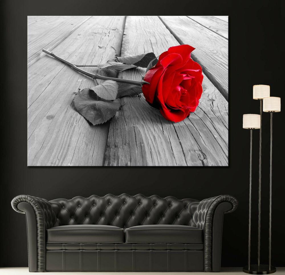 Wall art canvas print black white red rose modern home for White wall decor