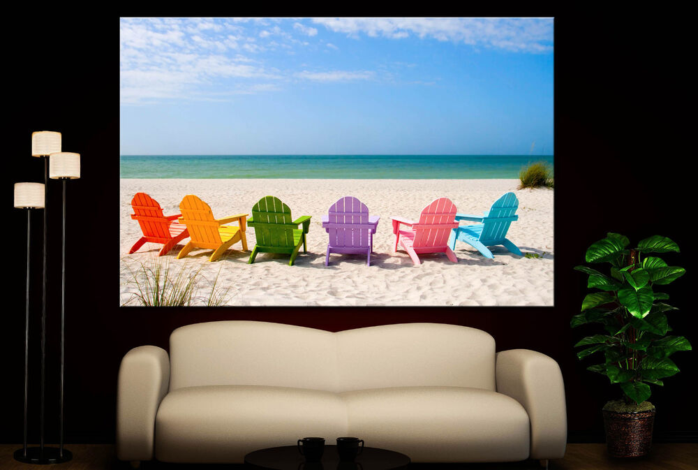 Beach Ocean Wall Decor : Wall art canvas print colorful beach chairs ocean sand