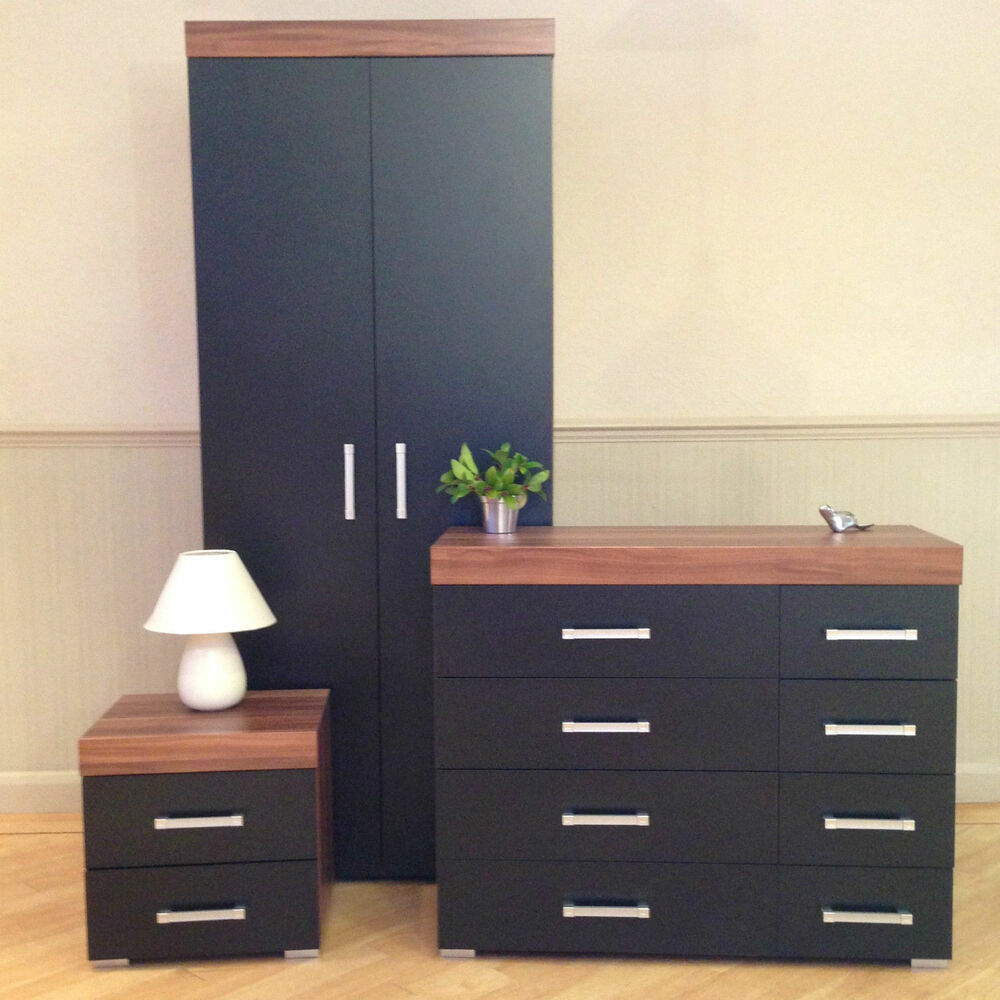 Bedroom Furniture Set Black Walnut Wardrobe 4 4 Drawer Chest Bedside Cabinet 757901542589 Ebay