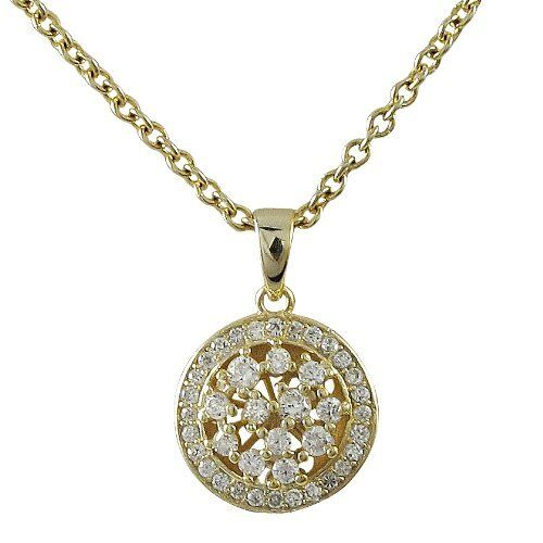 Sterling Silver Gold Finish Cz Round Medallion Womens