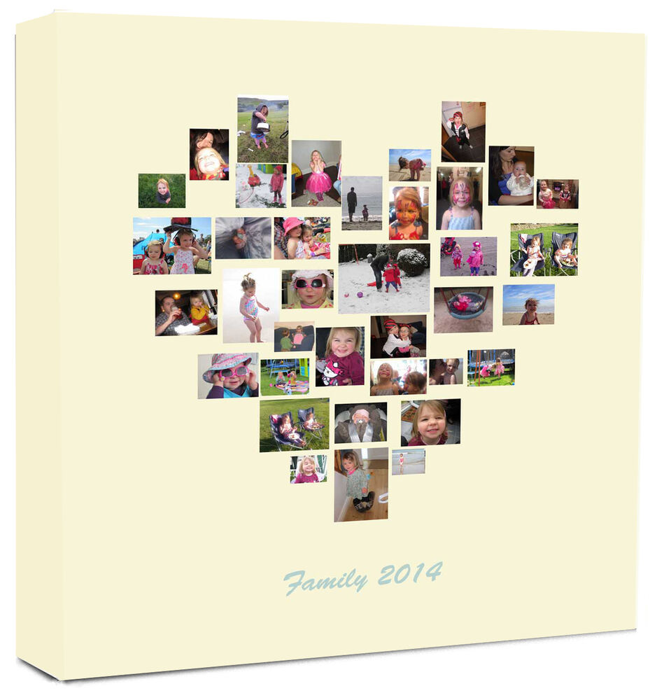 Personalised Photo Collage Canvas Family Tree Heart Shape