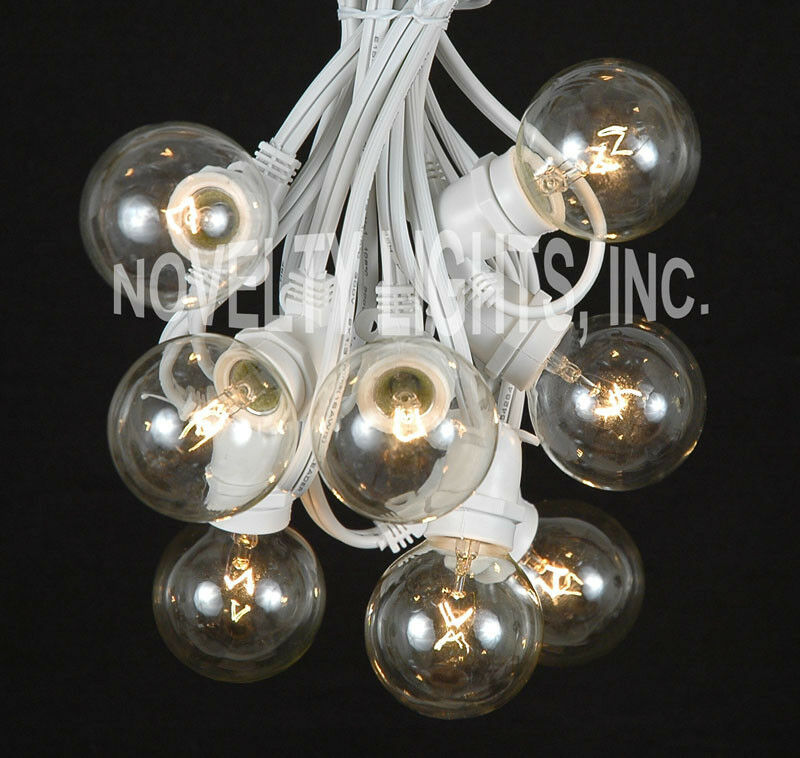Clear Globe Patio String Lights : 25 Foot G50 Heavy Duty Outdoor Patio Globe String Lights - Set of 25 Clear Bulbs eBay