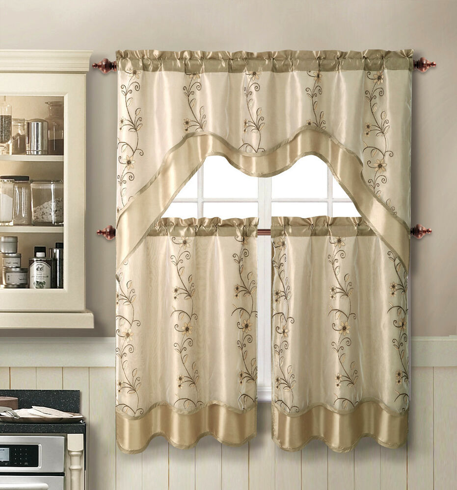Kitchen Curtains And Valances: VCNY® Daphne Embroidered Kitchen Curtain Set