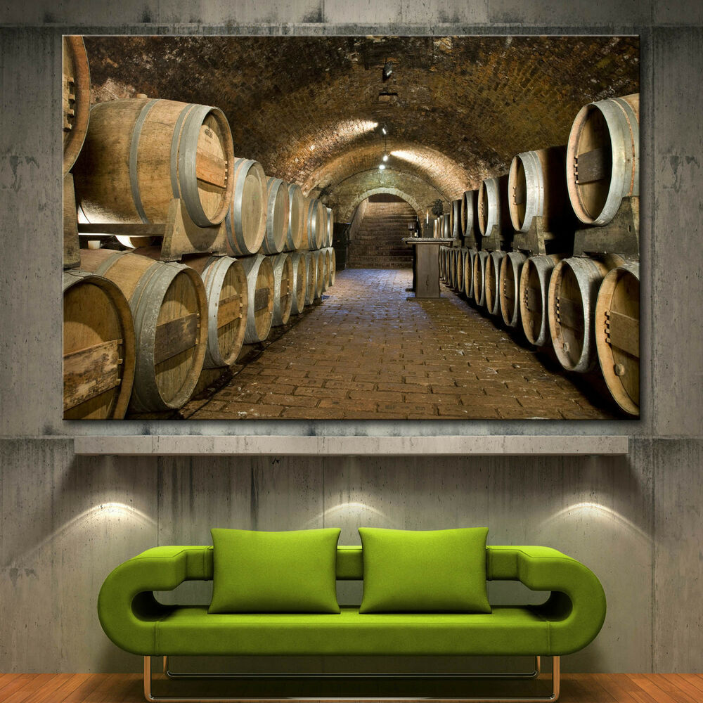 Wall art canvas print wine cellar barrels picture fine for Fine home decor