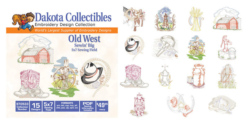 Dakota embroidery machine design cd old west 5x7 970533 for Embroidery office design version 7 5