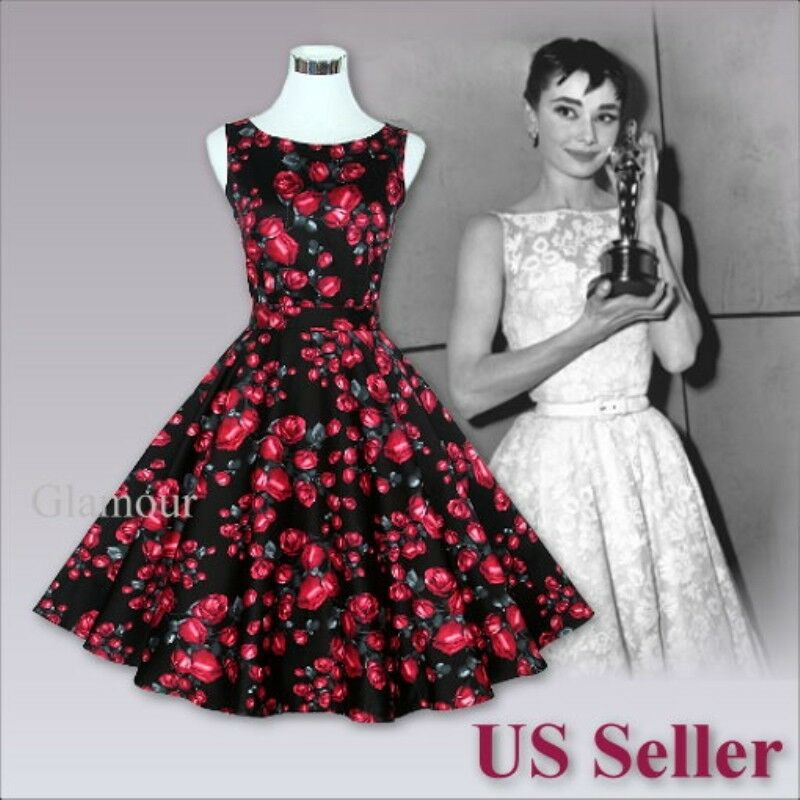 Vintage Wedding Dresses Usa: Red Rose Audrey Hepburn Style 50s Evening Party Wedding