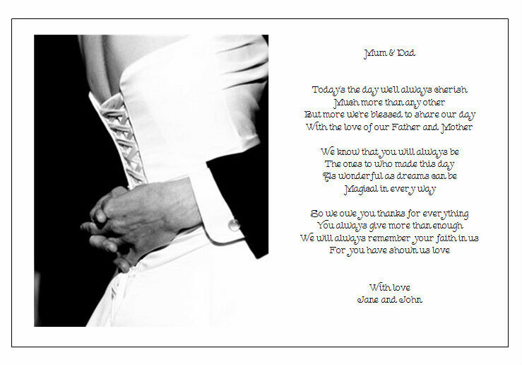 Wedding Day Gift For The Bride From The Groom : ... Wedding Day Poem GiftTo the MUM & DAD of the Bride & Groom eBay