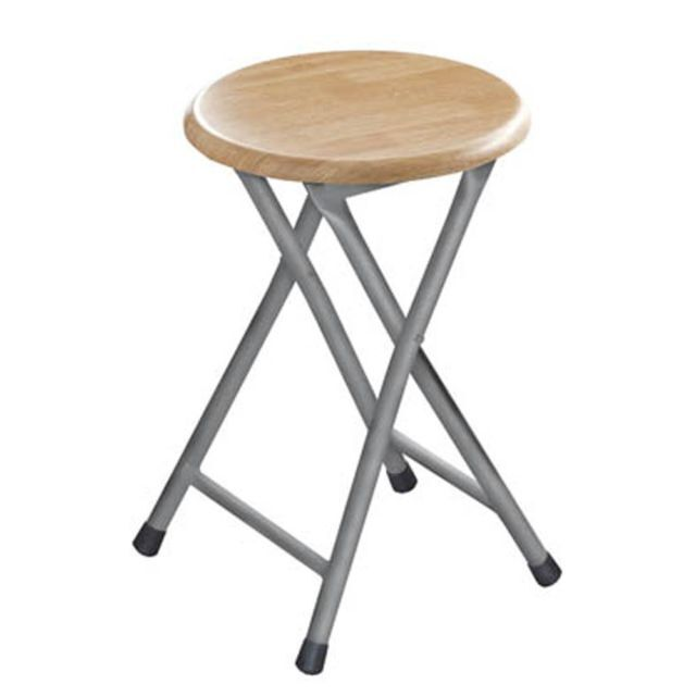 Folding Stools Wood Top Portable Space Saving Non Slip