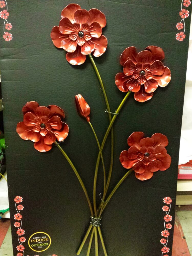 Wall Art Red Flower : Art poppy poppies red metal large wall decor spray bunch