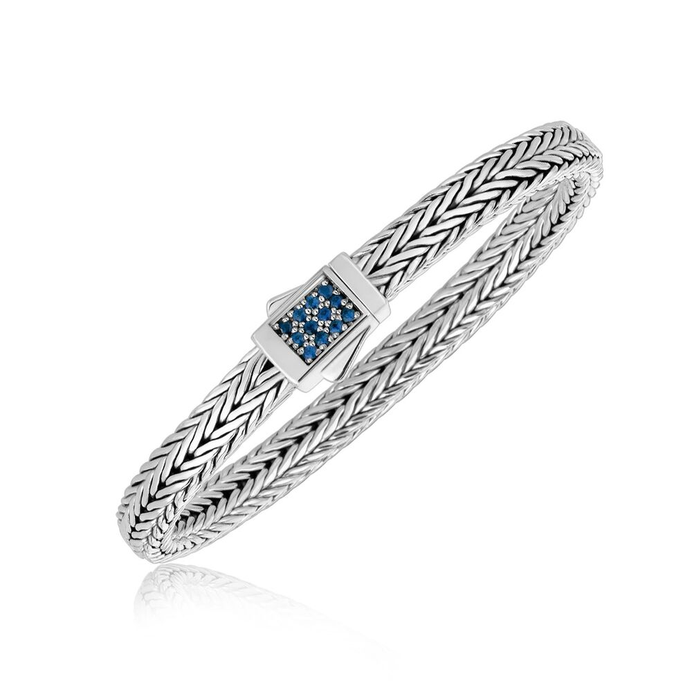 Men's Sterling Silver Braided Blue Sapphire Accented ...