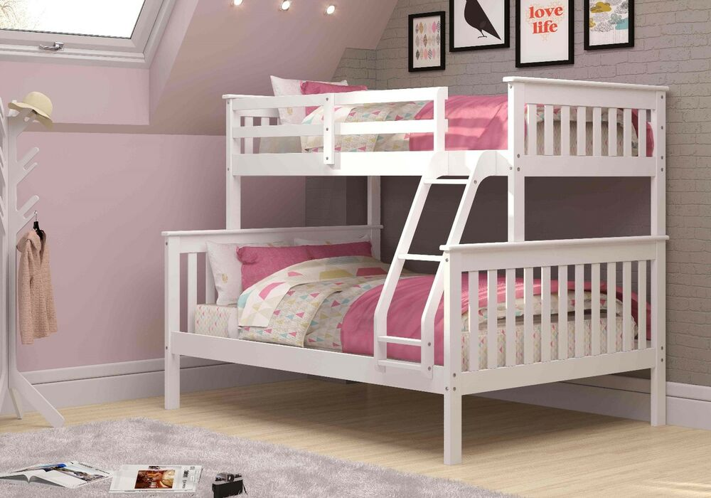 Twin over full mission bunk bed white kids furniture for Furniture of america pello full over full slatted bunk bed