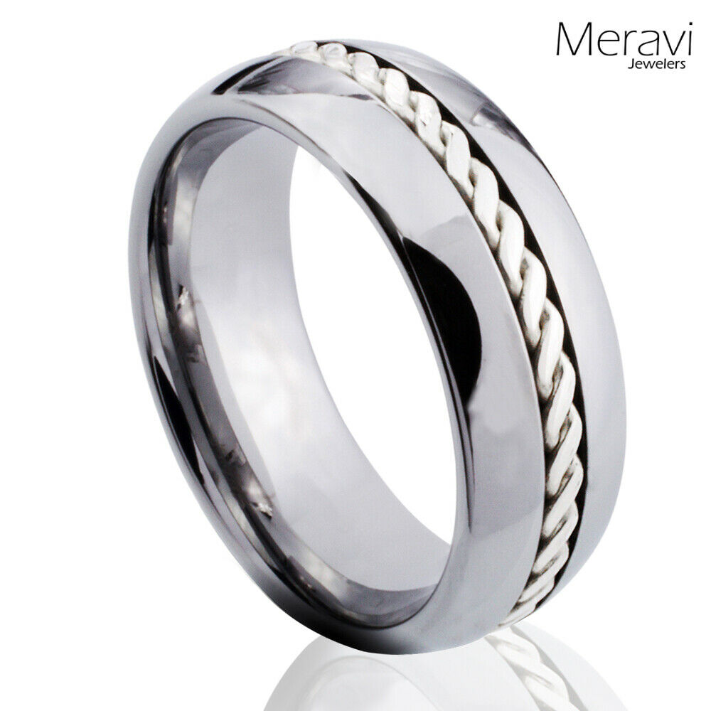 tungsten carbide ring sterling silver braid inlay