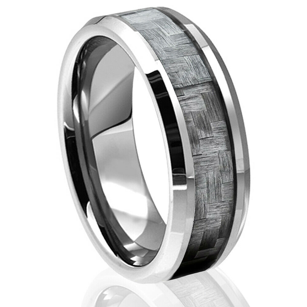 Tungsten Carbide Black Carbon Fiber Ring Silver Mens Engagement Wedding Band