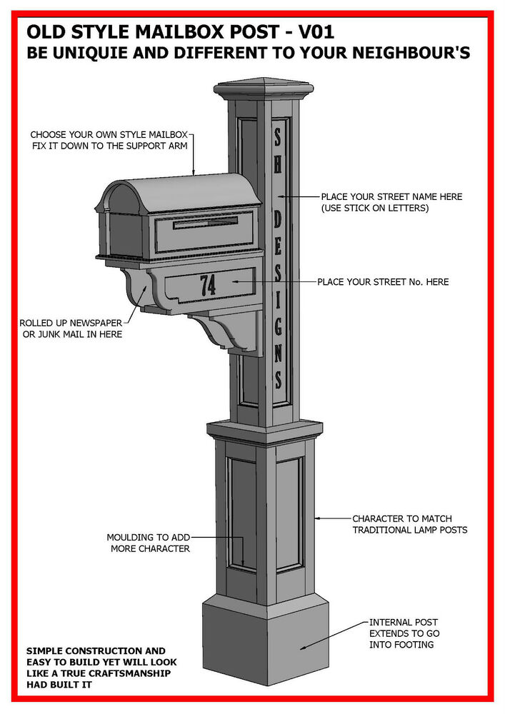Building plans for old style mailbox letterbox post for What to do with old mailbox