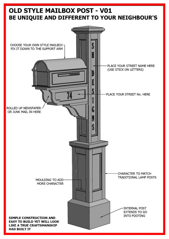 Building plans for old style mailbox letterbox post for How to save to build a house